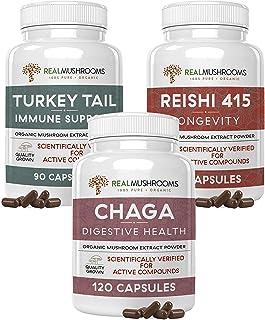 Real Mushrooms Ultimate Defense, Immunity, Longevity Bundle - Reishi 415 Longevity Capsules (90ct), Turkey Tail Mushroom E...