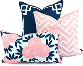 Hofdeco Decorative Throw and Lumbar Pillow Cover Indoor Outdoor Water Resistant Canvas Spring Navy Pink Greek Key Maze Chinoiserie Floral 18x18 20x20 12x20 Set of 3