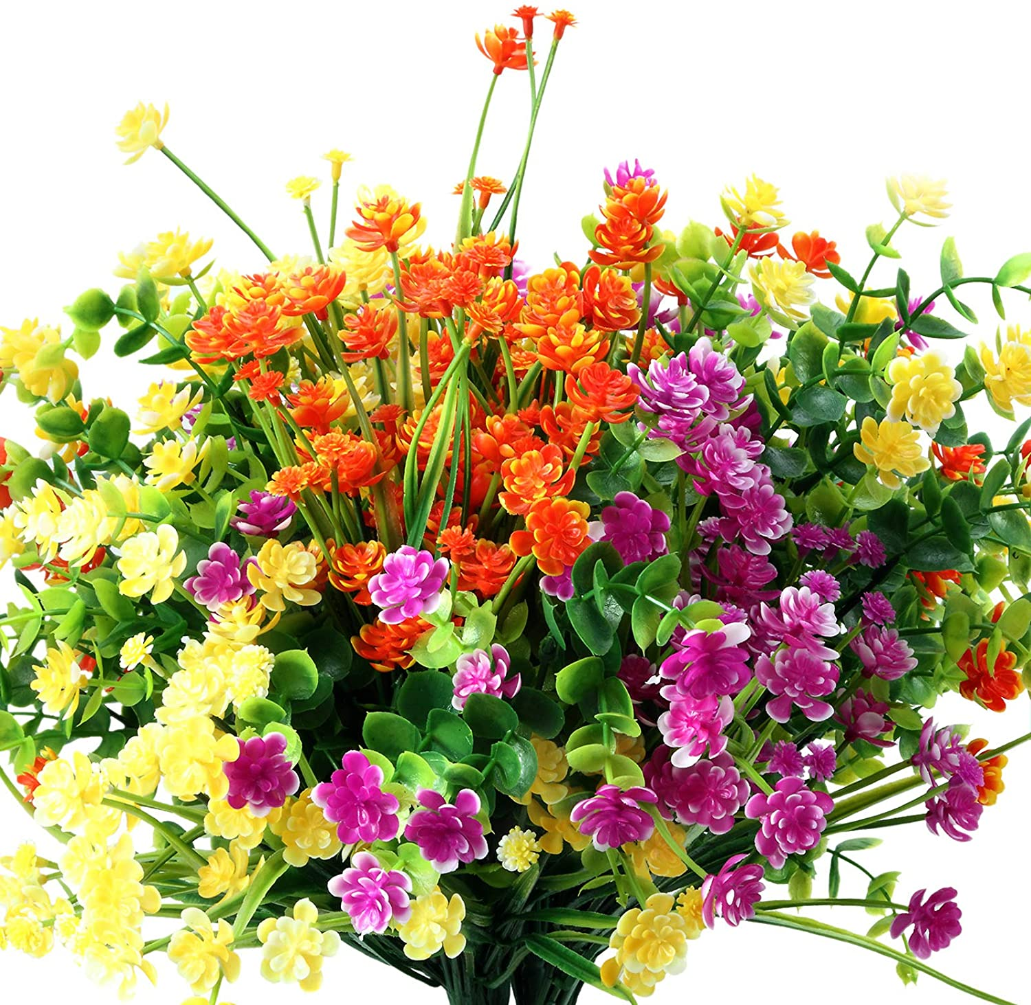 12 online shopping Pieces Recommendation Artificial Flowers 6 Resistant Shrubs Outdoor UV Types
