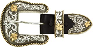 Men's Antiqued Two-Tone Filigree 3-Piece Belt Buckle Set - 61565