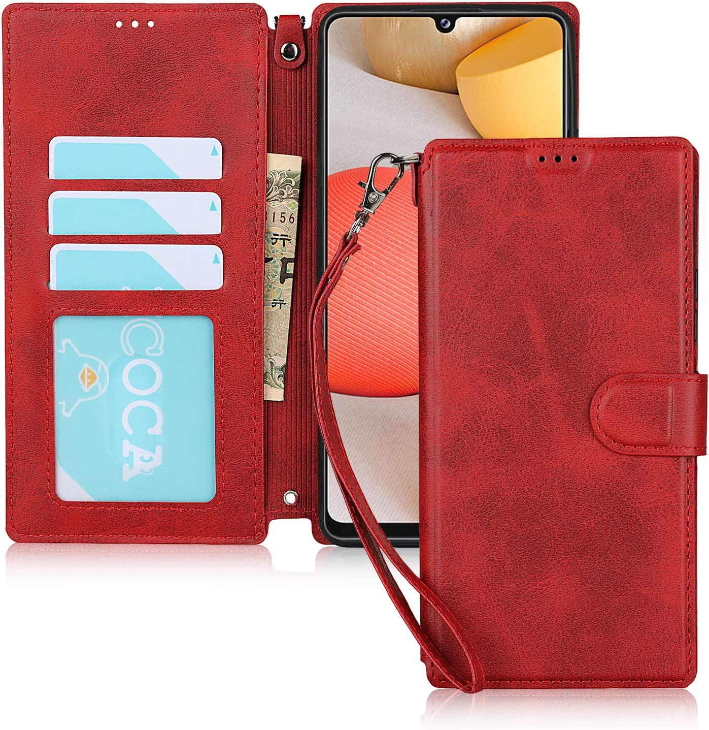 JWS-C Samsung Galaxy A42 5G Case Wallet Leather with Card Holder Shockproof Protective Flip Case Men for Samsung Galaxy A42 5G-Red