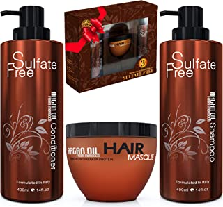 Moroccan Argan Oil Shampoo Conditioner and Hair Mask | Sulfate Free Organic Gift Set Best for Damaged, Dry, Curly or Frizzy Hair - Thickening for Fine/Thin Hair Safe for Color and Keratin Treated Hair