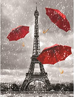 Eiffel Tower Black White & Red 3D Poster Wall Art Decor Print | 11.8 x 15.7 | Lenticular Posters & Pictures | Photo Memorabilia Gifts for Guys & Girls Bedroom | Paris France Iconic City Landmark Photo