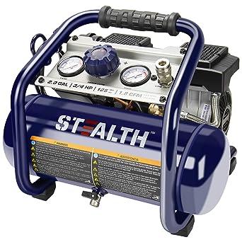 Stealth Ultra Quiet Air Compressor, Only 60 Decibel 2 Gallon Peak 3/4 HP Max 125 PSI Portable Air Compressor, Oil-Free Air Pump, 1.8 CFM @ 90 PSI Electric Air Compressor for Garage Innovation Work: image