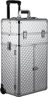 Sunrise Alamanni 2-in-1 Rolling Makeup Case Professional Nail Travel Organiser Box, Silver Diamond