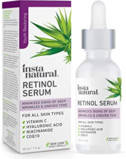 InstaNatural Retinol Serum - Anti Wrinkle Anti Aging Facial Serum - Helps Reduce Appearance of Puffiness, Wrinkles, Crows ...