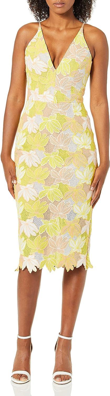 Dress the Population Women's Aurora Lace Plunging Spaghetti Strap Midi Sheath Dress, Citrus Floral, XS