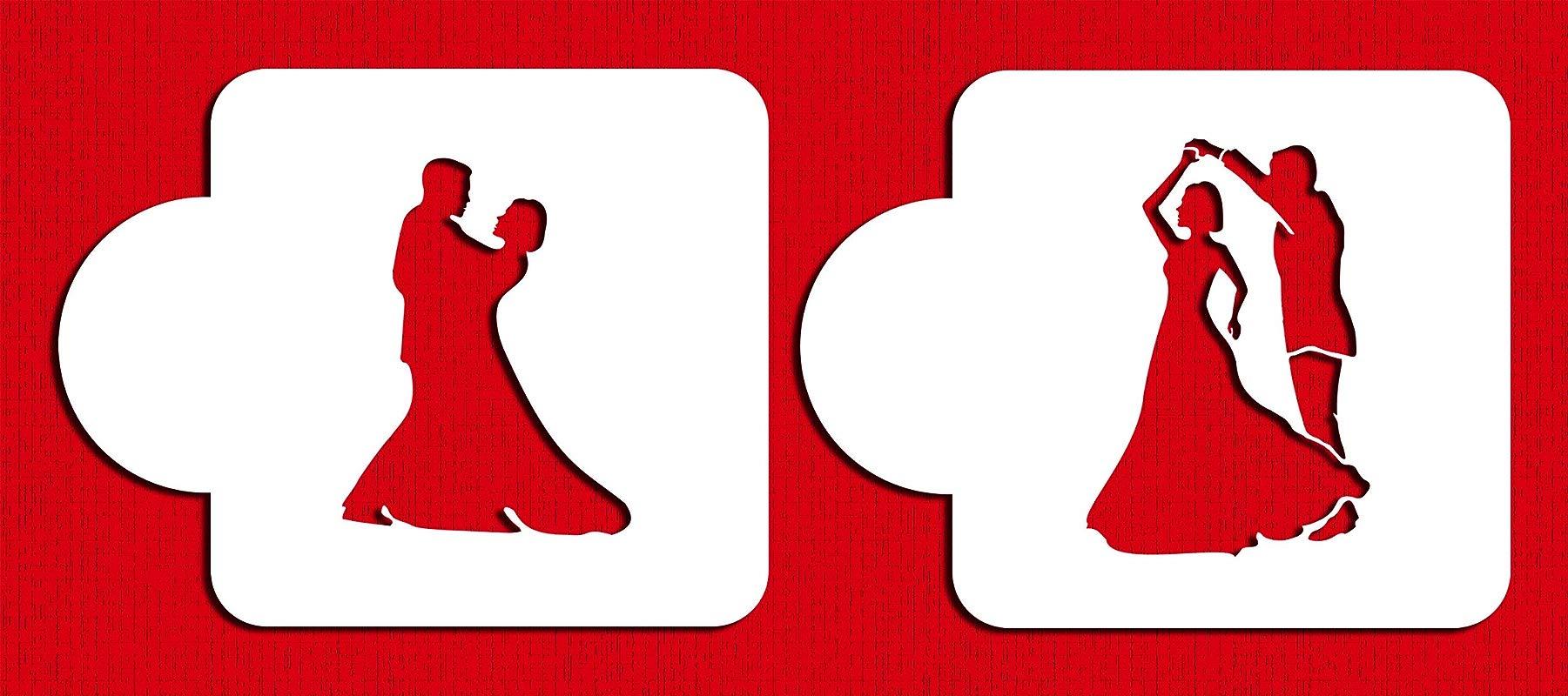 Designer Stencils C818 Dancing Couple Stencil Beige Semi Transparent