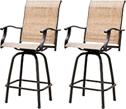 LOKATSE HOME 2 Piece Swivel Bar Stools Outdoor High Patio Chairs Furniture with All..