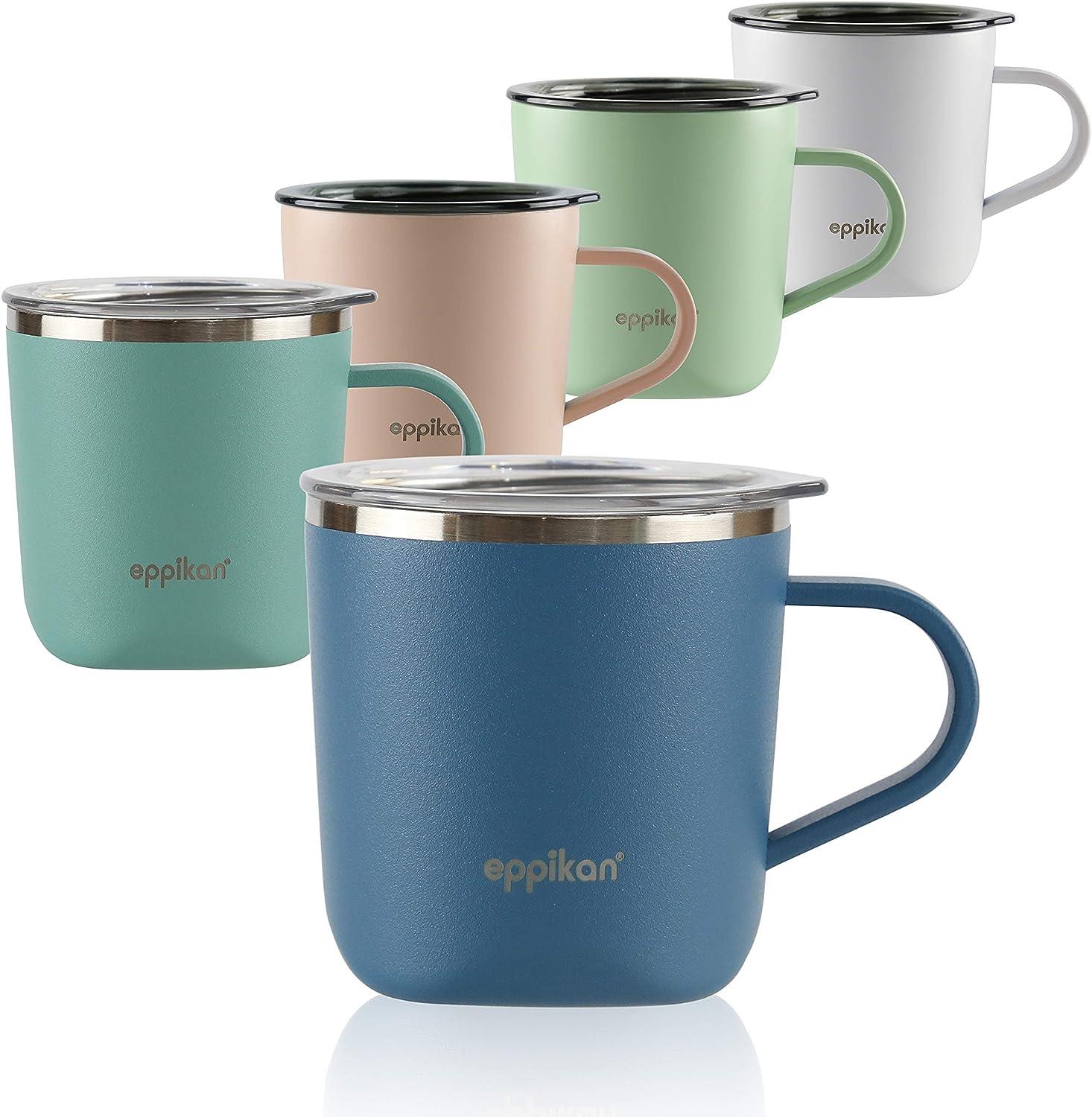 eppikan® EppiLungo Taza termo de acero inoxidable, taza aislada, taza de café, taza de té, taza térmica, 220 ml, 280 ml tapa con abertura para verter (Powder Blue, 220 ml)