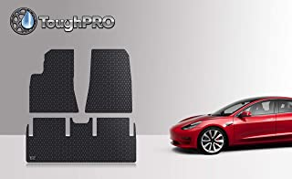 ToughPRO Floor Mats Set (Front Row + 2nd Row) Compatible with Tesla Model 3 - All Weather - Heavy Duty - (Made in USA) - Black Rubber - 2019