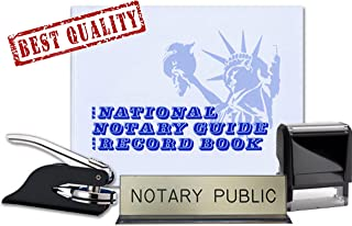 Notary Journal, Self Inking Stamp, Black Pocket Seal Embosser, and Notary Public Desk Sign Bundle | New Jersey