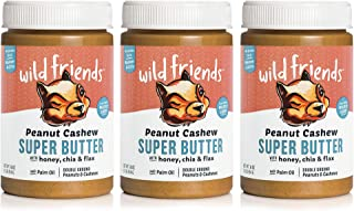 Wild Friends Peanut Cashew Super Butter, 16 Ounce Jars (3 Count), with Honey, Chia & Flax, Gluten Free, Palm Oil Free