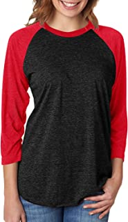 6051 Unisex Tri-Blend 3 by 4 Sleeve Raglan - Vintage Black & Red, Large