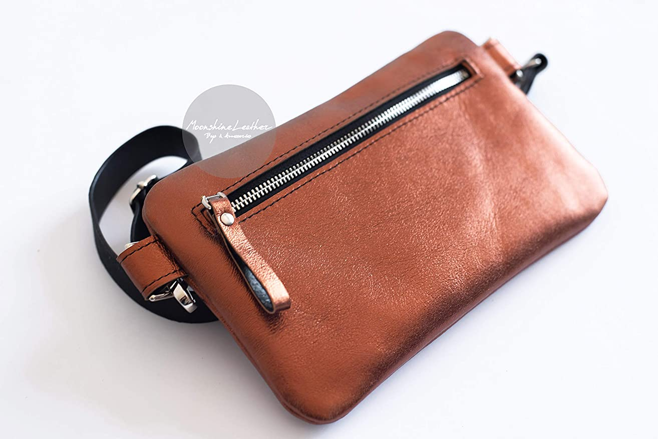 METALLIC POCKET crossbody Leather waist bag Bum bag Hip bag Women leather bag Fanny pack Mens belt bag Small bag purse Womens crossbody bag