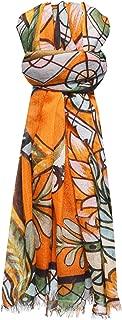 Simone Bruns Women's Tiger and Jungle Cashmere Scarf Orange
