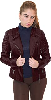 Womens Faux Leather Moto Biker Jacket with Pockets
