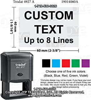 JYP 4927 # Rubber Self Inking Stamp with 8 Lines Customization Text.