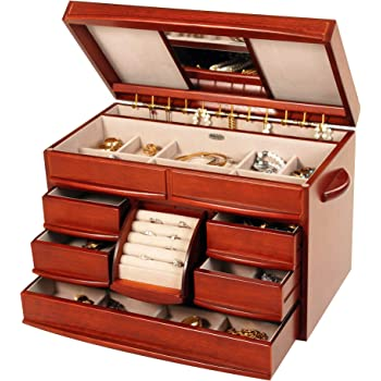 Mele & Co. Empress Wooden Jewelry Box, Ring, Necklace, and Earring Organizer