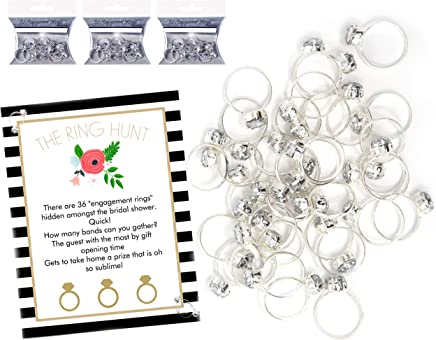 The Bridal Shower Ring Hunt Party Game with 36 Plastic Diamond Engagement Rings Wedding Favors Decorations