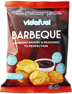 VidaFuel Healthy Snack Chips, Kidney Friendly, Heart Healthy, Dietitian Developed, Low Calorie, Low Fat, Low Sodium, Barbeque Flavor, 0.7 Ounce Bag, Pack of 12