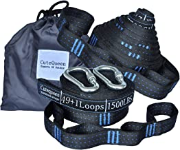 Cutequeen 2pcs Hammock Tree Straps 100 Loops 32.8Ft Long 3000+ LBS Versatile Heavy Duty & 100% No Stretch Suspension System Kit for Camping Hammock Includes Carry Bag (Pack of 2)