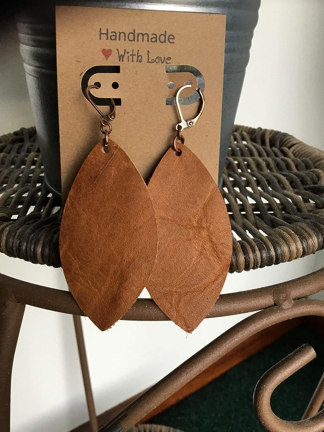 Simple Leather Earrings/Brown Petal earrings/Gift Idea/Rustic handcut leather/Drop Earrings/Essential Oil Diffuser