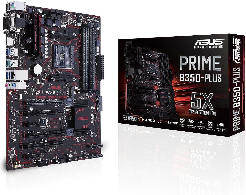 ASUS Prime B350-PLUS - Placa Base (Compatible con procesadores Ryzen, zócalo AM4, chipset AMD B350, 1 x PCIe 3.0, HDMI, 8 x USB 3.0, 4 x USB 2.0)