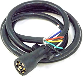 7 Way Rv Blade Molded Plug Trailer Wire 8 Feet Replacement Cable Cord Harness with Premium Double Prong Connector End