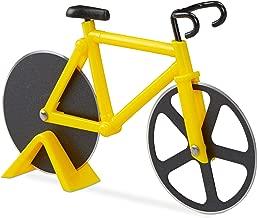 Relaxdays 10022555_48 Tagliapizza Bicicletta Divertente Rotella per Pizza a Forma di Bici Acciaio Inox Cutter da Cucina Tagliapasta Giallo