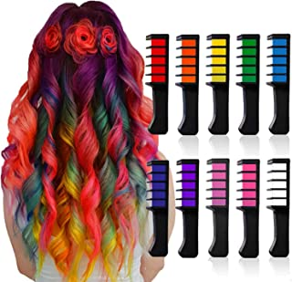Chnaivy Hair Chalk, Temporary Bright Hair Chalk Comb Washable Hair Dye Perfect Gifts for Girls Kids Party, Cosplay, Christmas and Halloween DIY, 10 Colors