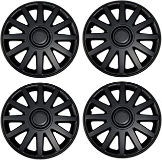 TuningPros WSC3-610B17 4pcs Set Snap-On Type (Pop-On) 17-Inches Matte Black Hubcaps Wheel Cover