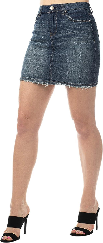 Almost Famous Juniors Denim Front Button A-line Jean Skirts for Women - High Waist
