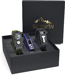Kopwin Paracord Survival Bracelet Set - Bonus Keychain Multitool Included. Paracord Bracelet with Compass, Magnesium Flint Fire Starter, Emergency Whistle, Knife and Led Light. Set of 2. Green