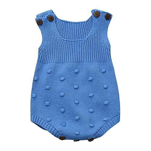 Eiffel Direct Baby Girls Boys Knitted Striped Spot Romper Sleeveless Vest  Jumpsuit Bodysuit Blue 591bfd4ab