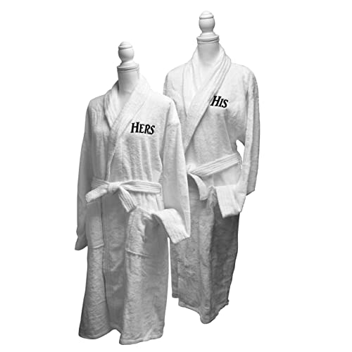 His   Hers Monogrammed Embroidered Luxury White Terry Cotton Spa Robe Set  of 2 – e66b3606d
