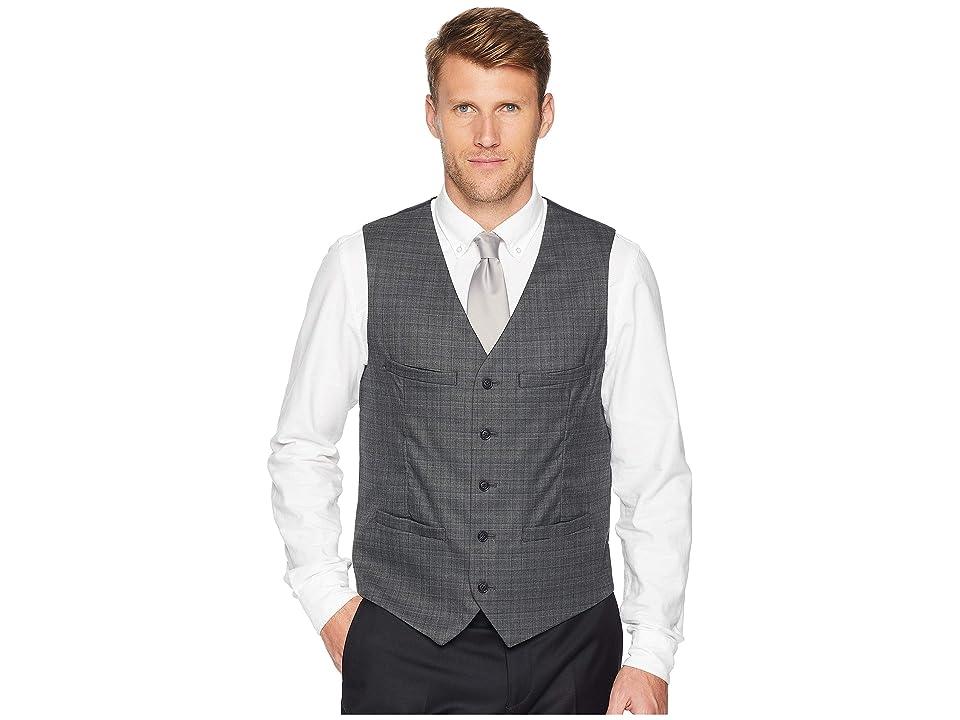 Perry Ellis Slim Fit Washable Plaid Suit Vest (Charcoal Heather) Men