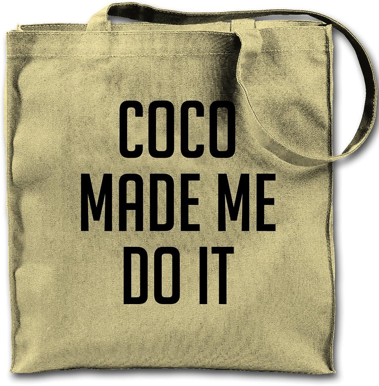 Coco Made Me Do It Natural Canvas Tote Bag, Cloth Shopping Shoulder Bag