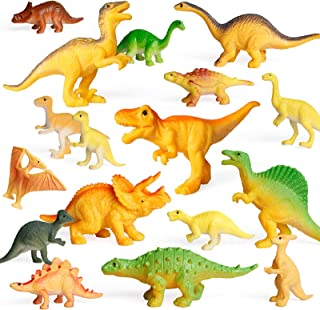 Coogam 18PCS Realistic Dinosaur Toy Play Set Assorted Plastic Small Dino Figures Cake Toppers Birthday Party Favors Figuri...