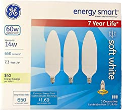 GE Energy-Smart Soft White CFL Candelabra Base, 14W Light Bulbs (60 Watt Equivalent) (14.0 Watt)