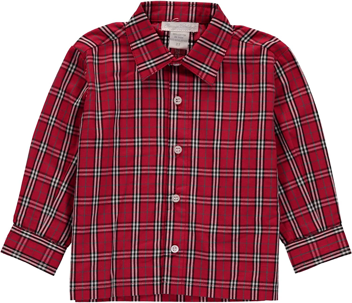 Carriage Boutique Boys Plaid Red Shirt - Button Down and Collar