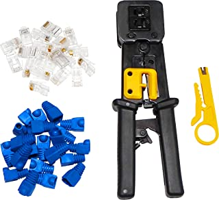 RJ45 Crimp Tool - Professional Heavy-Duty Crimping Tool Kit Cat5, Cat5E, Cat6 Connectors - Includes Wire Stripper, 50x Cat5 Passthrough Connectors plus Covers, Replacement Blades