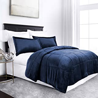 Sleep Restoration Micromink Goose Down Alternative Comforter Set - All Season Hotel Quality Luxury Hypoallergenic Comforter/Blanket with Shams - Full/Queen - Navy