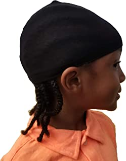 2 pcs Kids Wave caps du rag Hip hop doo rag Stocking Cap fit Children Head for Long Styles or Waves Black