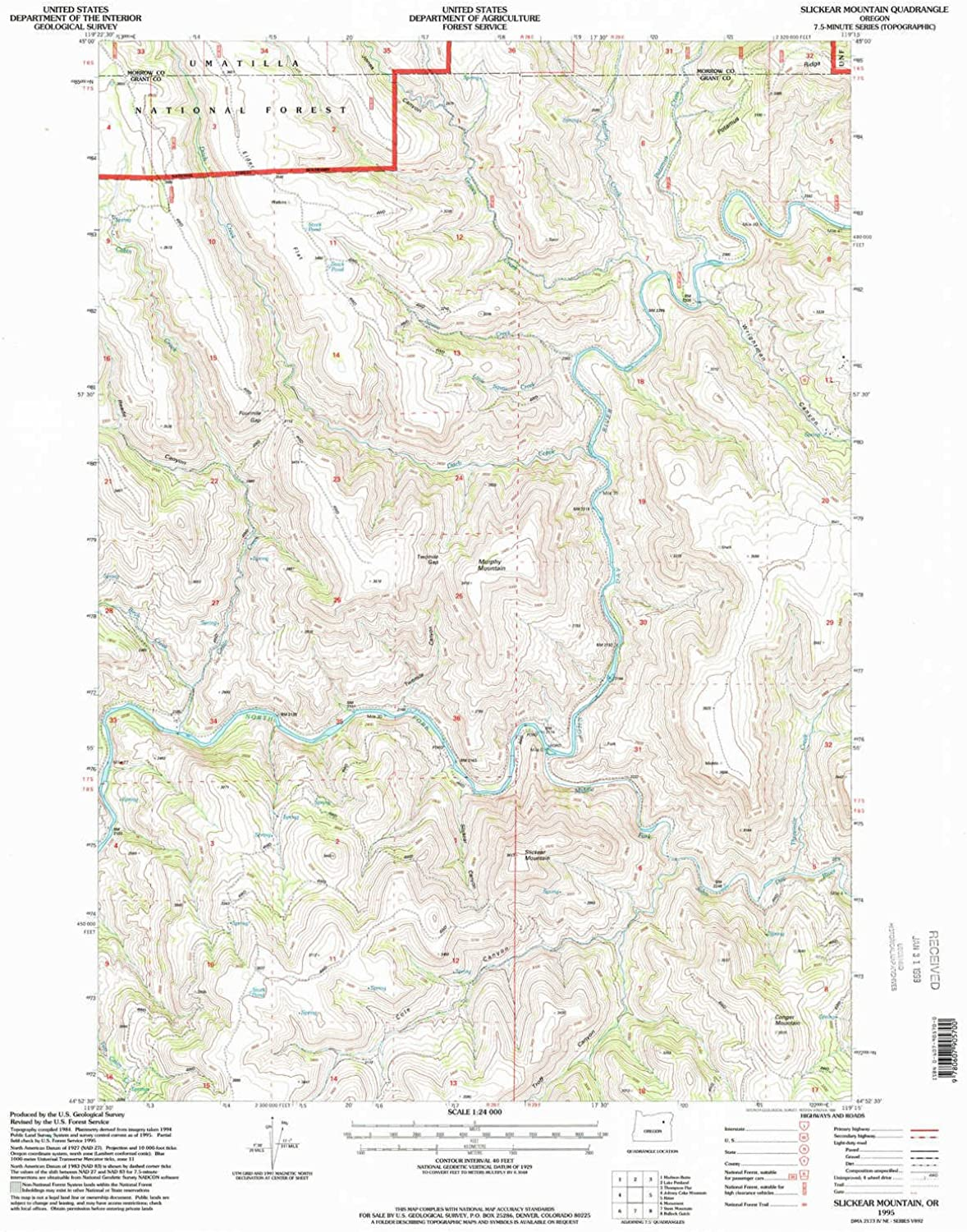 Slickear Mountain OR topo map, 1 24000 Scale, 7.5 X 7.5 Minute, Historical, 1995, Updated 1998, 26.8 x 22 in