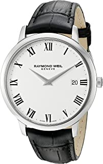 Raymond Weil Mens Toccata Swiss Quartz Stainless Steel and Leather Watch, Color: