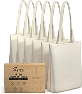 JL ECO 6 Canvas Tote Bag with Inner Pocket - Heavy Duty 12oz Tote Bags Bulk - Canvas Bags Perfect for DIY - Blank Canvas Tote Bags for Crafts - Great for Gift Bags or Promotional Bags