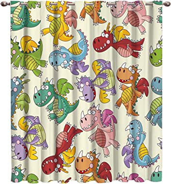 Vandarllin Kawaii Flying Dinosaurs Thermal Insulated Blackout Window Curtains/Treatments(1 Panel) Cute Doors Curtains and Drapes for Home,Bedroom, Living Room, 52 Wx24 L Inch