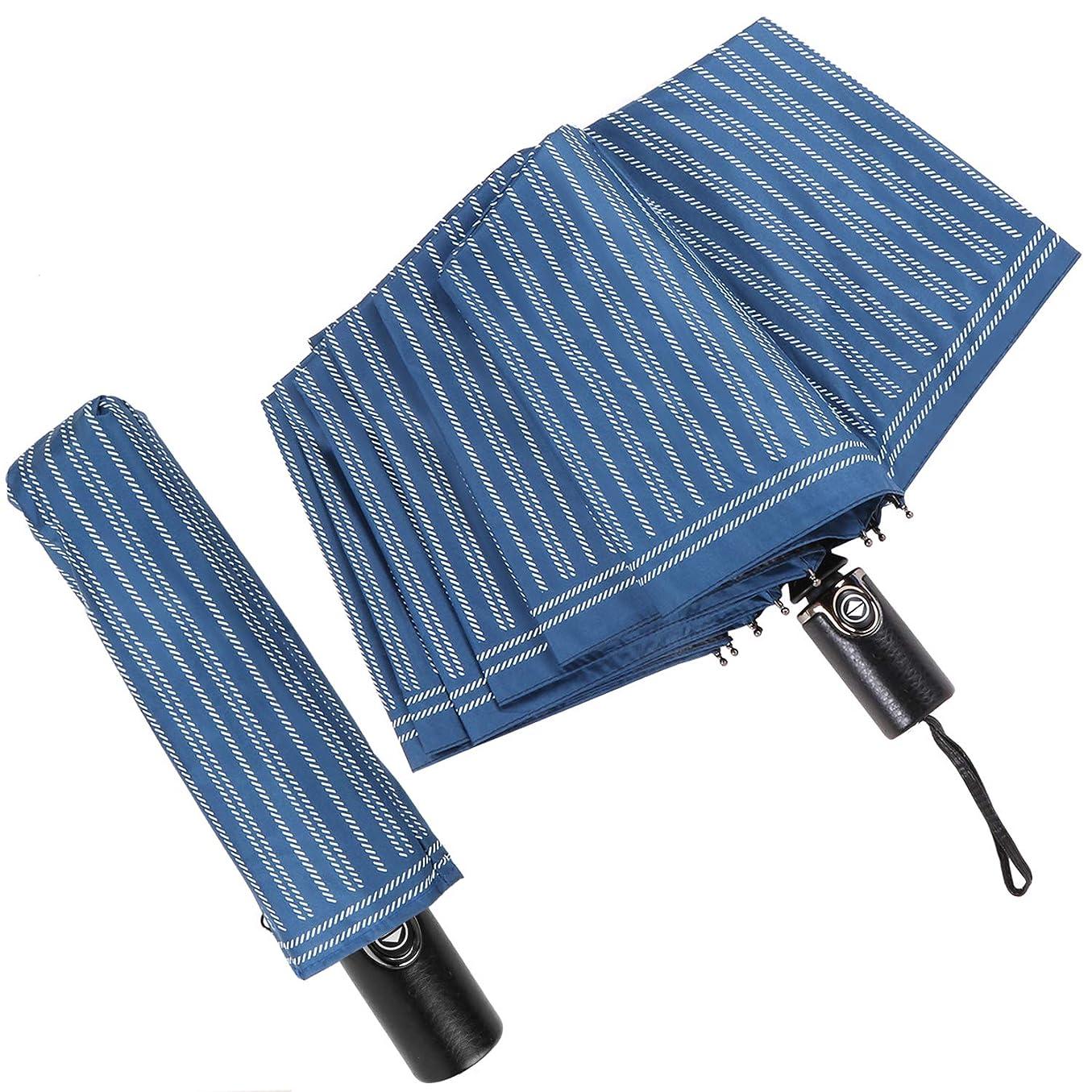 ピアパリティやがてSeavish 折りたたみ傘 ワンタッチ 自動開閉 10本骨 大きめコンパクト 紳士用 雨傘 日傘 UPF50+ 晴雨兼用 耐風 超撥水 頑丈 梅雨対策 紫外線対策 メンズ 傘カバー付き 紺色 (紺色)