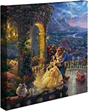Thomas Kinkade Studios Beauty and The Beast Dancing in The Moonlight 14 x 14 Gallery Wrapped Canvas